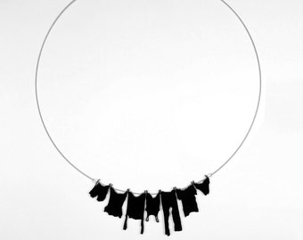 necklace - laundry hanging on clothesline black