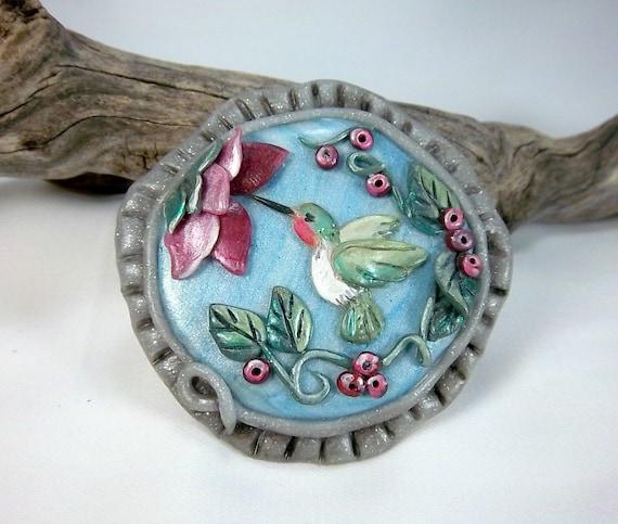 Clearance,  Hummingbird Brooch,  Polymer Clay Brooch, Bird Lovers Brooch, Summer Brooch