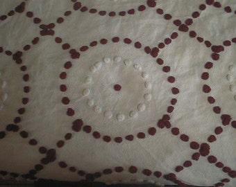 "Deep RED and White Handmade POPS Bullseye Design Vintage Chenille Bedspread Fabric - 22+"" X 25+"" - Last Piece"