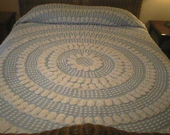 SALE - Pretty Sky BLUE with WHITE Curliques and Pops Vintage Chenille Bedspread - Free Shipping