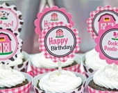 Barnyard Birthday Party 2 Inch Party Circles, Instant Download, Printable, Cupcake Toppers, Favor Tags, Decorative Circles