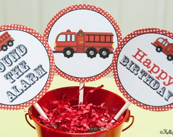 Fire Truck Birthday 4 Inch Party Circles, Instant Download, Printable, Digital