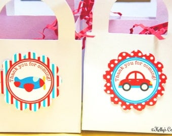 Planes, Trains, & Automobiles Birthday Party 2 Inch Thank You Circles, Instant Download, Printable, Digital