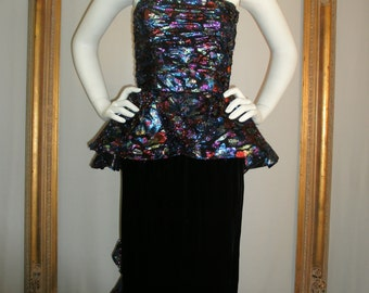 Vintage 1980's Victor Costa Black Velvet and Multi Color Metallic Strapless Evening Gown - Size 2