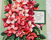 Vintage Get Well Greeting Card Unused Midcentury 50s Ephemera Pink Floral Cottage Chic Paper Shabby Chic Wishes