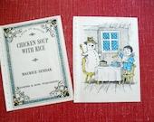 Maurice Sendak Lithograph Set - Chicken Soup with Rice - Blue - 60s Ephemera - Cottage Chic Paper - Childrens Frameable Art  Vintage Snowman