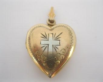 SALE/ Vintage gold fill locket cross design
