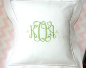 White Monogrammed Linen Hemstitch Pillow