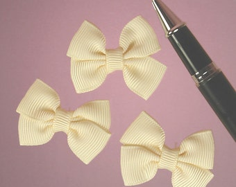 """25ct. Tiny Ivory Grosgrain Double Bow Ties 1-1/2"""" x 1-1/4"""" (FREE SHIPPING!)"""