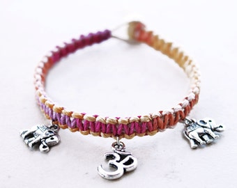 Elephant Bracelet - Om Bracelet - Hemp Bracelet - Hemp Jewelry