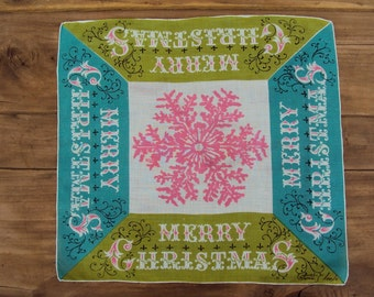 MCM Tammis Keefe Hanky Merry Christmas Snowflake