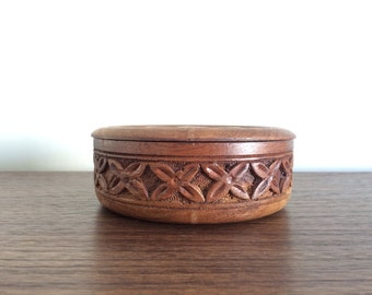 Carved Round Wood Stash Box