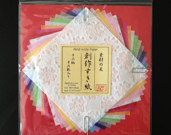 Fast Shipping Brand New A Set of 16  Sheets Hand Made Japanese Origami Paper