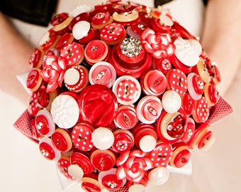 Retro Red Button Bouquet Polka Dot - ready to ship SAMPLE SALE PRICE!