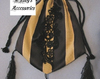 HANDBAG RETICULE in Elegant Black and Gold Stripe Satin Accented with Black Embroidered Applique and Tassels Civil War Reenactment Steampunk