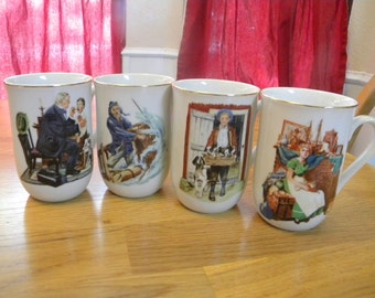 Norman Rockwell mugs from Museum Collections vintage 1986 set of 4