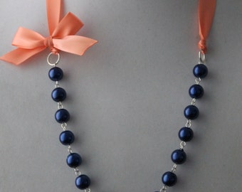 Navy Pearl and Coral Ribbon Bow Necklace