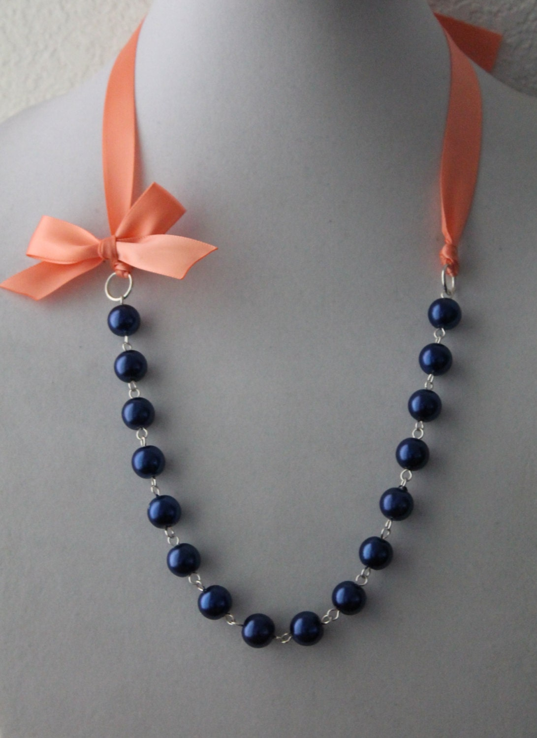 Navy pearl and coral ribbon bow necklace for Ribbon tie necklace jewelry
