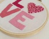 "Hand embroidered 4"" love hoop -wall art hoop art"