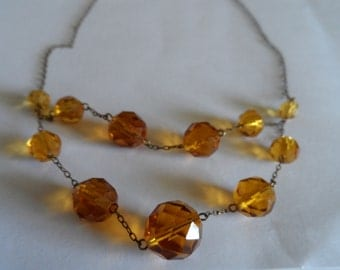 Gorgeous and dainty 1930's swag crystal  necklace