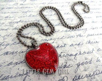 Red Gothic Glitter Heart Necklace - Valentine Jewelry Charm - Queen of Hearts - Be Mine