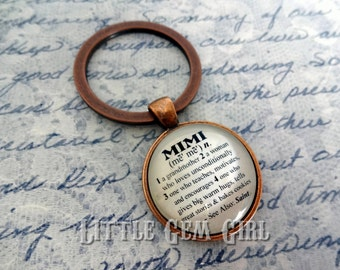 Mimi Key Chain - Mimi KeyChain - Mimi Key Charm or  Mimi Necklace for Mothers Day Dictionary Definition 1 inch Round Glass Mom Mimi Jewelry