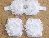 White Barefoot Baby Sandals with Matching Headband - Flower Sandals - Baby Flower Sandals