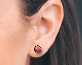 Blood Coral, Black Horn Earrings, Red Coral Fake Plugs, Fake Gauges, Handmade, Organic, Cheaters, Split - SP4