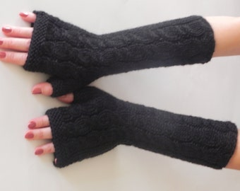 BLACK LONG Fingerless Gloves, Wool Mittens, Arm Warmers, Hand Knitted, Eco Friendly