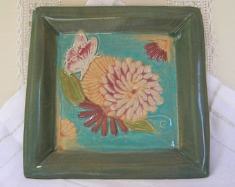 Stoneware Pottery Clay Wall Tile, Square Plate, Tray, Ready to hang, Embossed Butterfly, Orange and Burgundy Flowers, Turquoise
