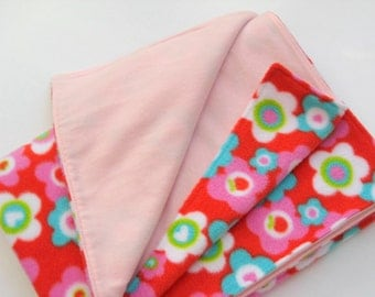 Fleece Pram Blanket - Red with Large Colorful Daisies and Pale Pink Flannel Backing, Stroller Blanket, Baby Blanket