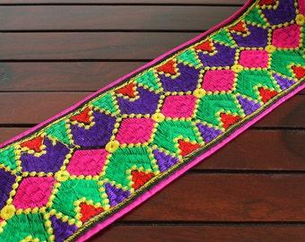 1 Yard- Multi-Color Geometrical Design Black Fabric Trim-Embroidered Fabric Trim-Black Sari Border Trim-Embroidered Ribbon Trim By The Yard