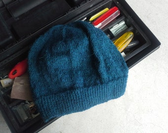 Men's Alpaca Wool Beanie Indigo Green Blue Light Thin Hand Knit Winter Hiking Skiing Snowboarding Gent's Hat (One Size - Made to Order)