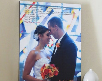 1st Anniversary Gift for Husband Wife Anniversary Gift First Anniversary Photo on CANVAS One Year Anniversary First Dance Song Lyrics