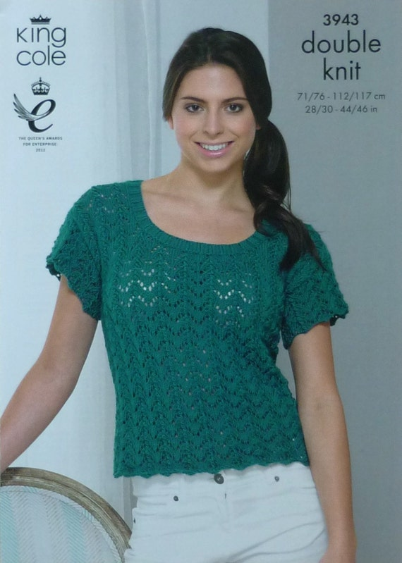 Knitting Pattern Ladies Short Sleeve Jumper : Womens Knitting Pattern K3943 Ladies Short by KnittingPatterns4U