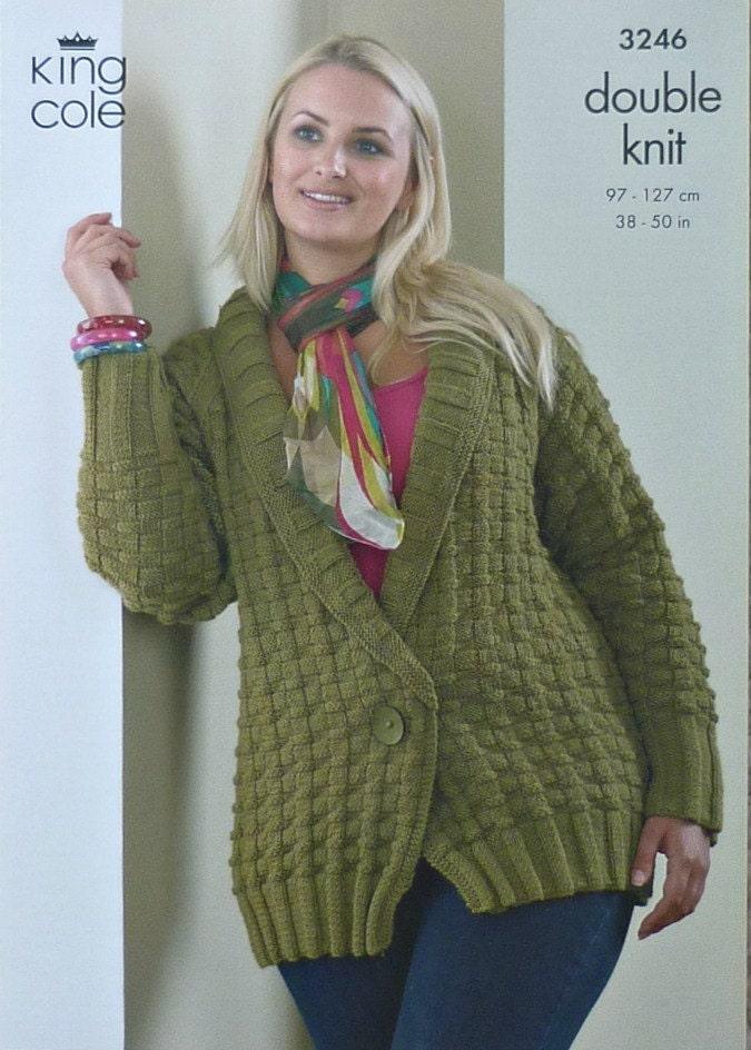 Plus Size Knitting Patterns : Womens Knitting Pattern K3246 Ladies Long Sleeve V-neck Jacket Plus Sizes Kni...