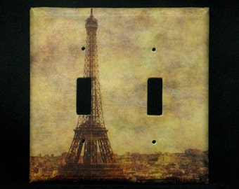 Double Switchplate Cover - View Over Paris