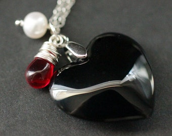 Black Heart Necklace. Black Glass Heart Necklace with Wire Wrapped Red Teardrop and Fresh Water Pearl. Goth Necklace. Handmade Jewelry.