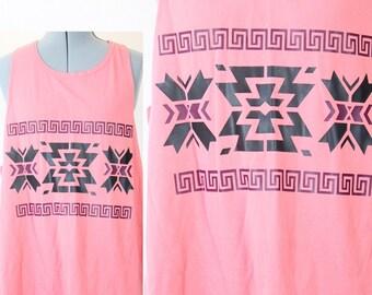 SALE Retro Pink Aztec Tank Top