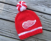 DETROIT RED WINGS Hand Knit Baby Hat - Detroit Baby Hat - Michigan Hand Knitted Baby Hat