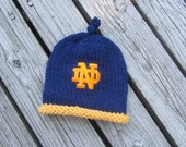 NOTRE DAME Baby Hat, Notre Dame Baby, Hand Knit Baby Hat, Fighting Irish Baby Hat, Notre Dame Hand Knitted Baby Hat, Indiana, Notre Dame