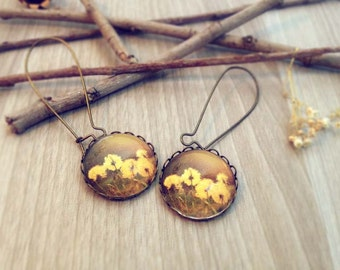 Autumn flowers earrings. Vintage Photography Earrings. Nature earrings Chocolate yellow earrings Boho chic brown earrings botanical earrings