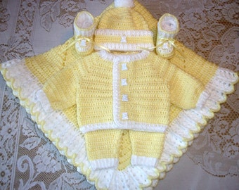 Baby Boy Yellow Crochet Layette Sweater Set Outfit, Leggings, Booties and Blanket Perfect For Baby Shower Gift or Take Me Home outfit
