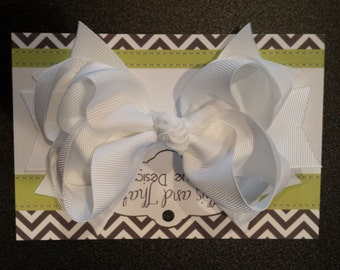 "Large 5"" Boutique White Hair Bow"