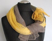 Linen Scarf Shawl Yellow Citrine Natural Gray Multicolored SALE