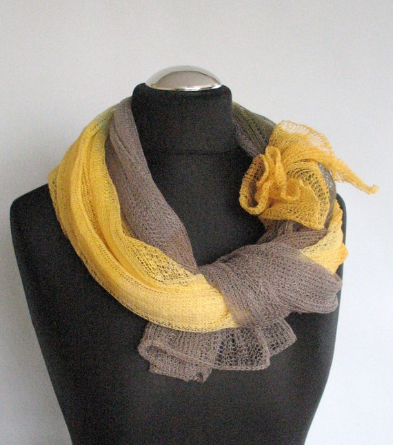 Linen Scarf Shawl Yellow Citrine Natural Gray Multicolored