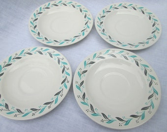 Vintage Homer Laughlin Saucers - Small Mid Century Plates - Turquoise border - Mix - Match