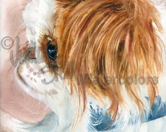 """Japanese Chin, Red & White, Rescue, AKC Toy, Companion, Pet Portrait Dog Art Watercolor Painting Print, Wall Art, Home Decor, """"Birdcage Dog"""""""