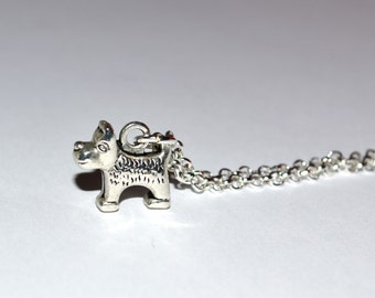 Terrier Necklace, Dog Charm Jewelry, Small Dog Pendant, Simple Necklace, Everyday Jewelry, Dog Lover Gift, Silver Dog Charm, UK Seller