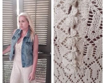 Vintage Cream Knit Perfect Dress   Size 8-10